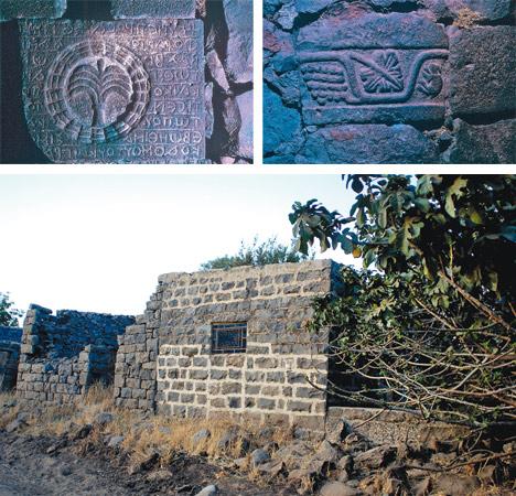 מבנים ברמתאנייה, 2010 (למעלה: אבנים מסותתות ומקושטות ששובצו בקיר אורווה בכפר). הכפר הנטוש שהשתמר בצורה הטובה ביותר | צילומים: אמנון אסף, שי פוגלמן